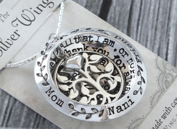 Hand Stamped Personalized locket necklace / Sterling Silver / Personalized Special Gift / Create Your Own Pendant / Tree Necklace and Heart