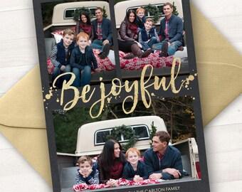 Custom Photo Christmas Cards, Photo Holiday Cards, Be Joyful, Printable Christmas Cards, Black Gold Christmas Card, Printable Christmas Xmas