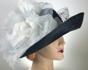 WIDE BRIM Black Straw Kentucky Derby Hat,  Black Straw Summer Hat, Large Brim White Hat