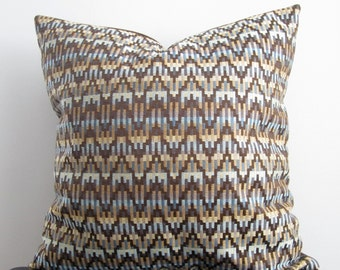 18x18 Blue Chevron Pillow Covers- Set of Two Tribal Decorative Pillow Covers,