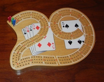 Cribbage Board '29' Shape With 7 Pegs Wood Board Game Vintage