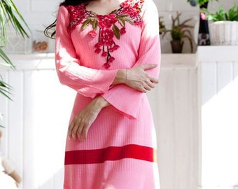 """Knitted dress """"Bubble gum"""" bright pink with floral lace on the chest"""