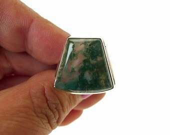 Moss Agate Ring, Sterling Silver and Moss Agate Ring - The Gardener's Stone - Moss Agate Gemstone Ring U.S. Size 9 - SE-GSP302X