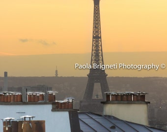 Paris Photography, Sunset and the Eiffel Tower, Chimneys, Rooftops in Paris, Yellow, Purple, Large Wall Art, France, Paris Home Decor