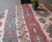 Vintage Tablecloth - Kilim - Southwest - Oblong