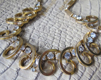 Retro Goldtone & Clear Crystal Rhinestone Necklace Choker, 1950's Hollywood Regency Costume Jewelry. Goldtone Jewelry. Glamour Starlet Chic