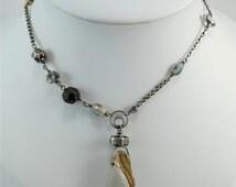 Fossilized druzy shell necklace