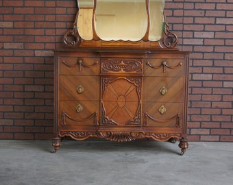 Chest With Mirror / Antique Chest of Drawers / Vintage Chest ~ Paint To Order ~