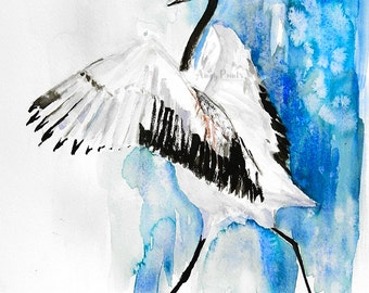 Bird Watercolor Painting, Bird Art Print, Bird Artwork, Bird Lover Gift, Bird Prints, Bird Painting, Bird Water Color Painting - Crane