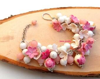 Pink Bracelet Flower Bracelet Pink Flowers Handmade Bracelet Romantic Jewelry Pink Jewelry Polymer Jewelry Jade Jewelry Gift For Her Flowers