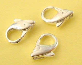 3 Pieces, Dolphin Lobster Clasp, Sterling Silver .925, 9x12.9mm, SCL128