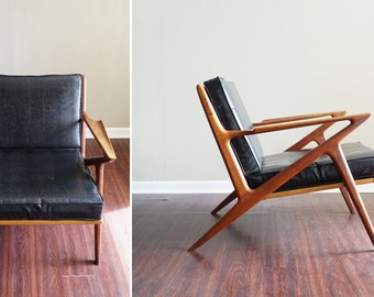 Vintage Selig Z Chair by Poul Jensen // Danish Mid Century Modern Teak Black Vinyl All Original