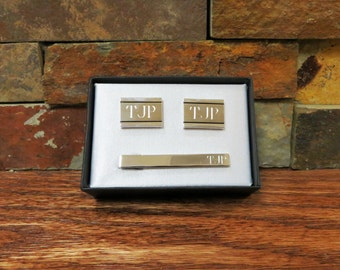 Personalized Cuff Link & Tie Clip Set, Father of the Bride, Groom, Groomsmen, Best Man