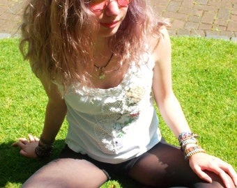 Upcycled white tank top with flowers and lace