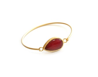 Teardrop Cherry Red Jade Gold Plated Cuff Bracelet