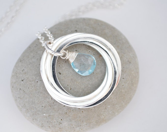50th Birthday gift, December birthstone necklace, Blue topaz necklace, 50th Birthday for women, Wife gift, Mom gift, 5 Interlocking necklace