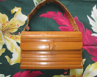 Exotica Dream Vintage 1940s 40s Bamboo Box Purse Handbag -Hawaiian-Hawaii-Souvenir-Novelty-Tiki-Pool-Beach-Party-Pinup-Bombshell-Vixen-VLV