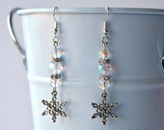 Sparkling Winter Snowflake Earrings in Silver and Crystal Glass
