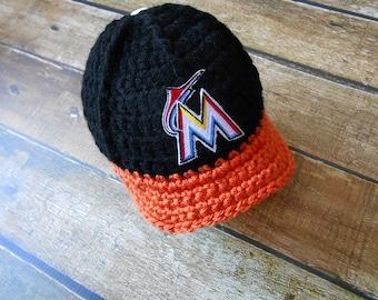 Newborn boy hats, Miami Marlins baby hat, baby boy  hat, boy baby hat, hat baby boy, newborn girl, newborn hat, boy baby newborn infant
