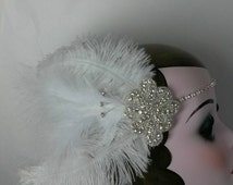 Moulin rouge, circus, ladies bridal summer wedding shower, headband, headdress, headpiece, white feathers