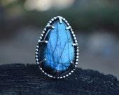 Reserved Labradorite Prong Ring, Labradorite Ring, Labradorite, Blue Labradorite, Sterling Silver, Size 8.5