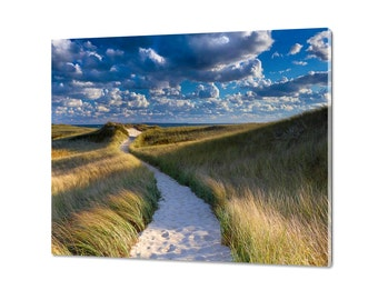 Acrylic Print, Glass Wall Art, Cape Cod Photography Dunes Path Photo Martha's Vineyard Picture Large Art Beach Decor Blue Green Yellow Beige