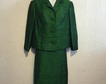 Vintage Emerald Green 1950s Skirt Suit