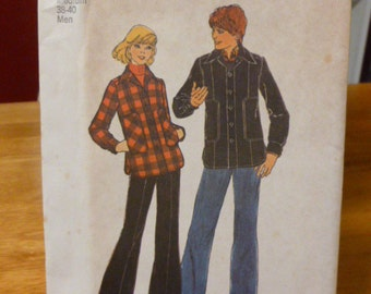 7358 Simplicity Medium 38-40 Men Pattern Men's Unlined Jacket Vintage 1976 Uncut