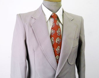 1970s Angels Flight Suit Jacket Men's Vintage Saturday Night Fever Disco Era Greige Polyester Blazer / Sport Coat  - Size 38 L
