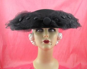 Womens Hat Black New Look Mesh Satin Handmade Hat Church Cloche Mother of the Bride Derby Ascot Races Art Deco Custom Made for Each Client