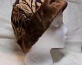 Viking Rus Hat Purple & Gold Brocaded Chenille Brown Faux Fur Brim Living history garb SCA LARP  Renaissance Fair