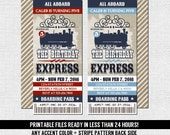 TRAIN TICKET INVITATIONS Birthday Party - Vintage Style Boarding Pass - Any Accent Color/Age - (print your own) Personalized Printable Files