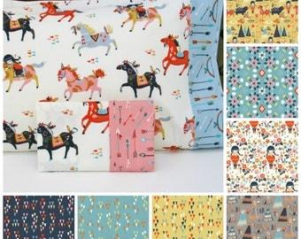 Organic Toddler Pillowcase, Toddler Pillowcase, Travel Pillowcase, Pillowcase, Wildland, Ponies, Horses, Arrows, Pink