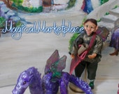 Handmade Art Dolls Tatsuki the messenger elf and Gyo his dragon OOAK