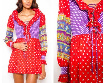 Further REDUCTION was 265 now 175 cutest vintage 70s JOSEPH MAGNIN patchwork front lacing frill boho mini dress
