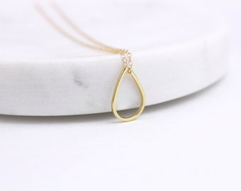 Teardrop necklace / Gold teardrop / Drop necklace / Teardrop pendant / Gold drop necklace / Layering necklace / Long gold necklace / Drop