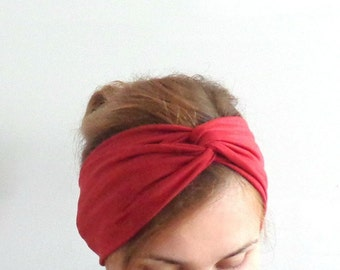 Rusty red turban headband , twist turban sienna orange headwrap for women yoga stretch headband turband head band maroon cotton