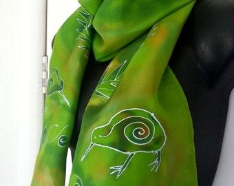 New Zealand KIWI SILK Scarf, Handpainted, Silver Ferns, Kiwiana, Handmade, NZ bird, Lime, green, Blue, Silver, Luxury Gift. Ready to Ship