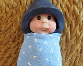 Clay BABY Awake Baby, Elf Hat with Sparkles, Blue Starry Swaddling Cloth, Original, OOAK Sculpture, Midwife, Doula, New Mom Gift Idea