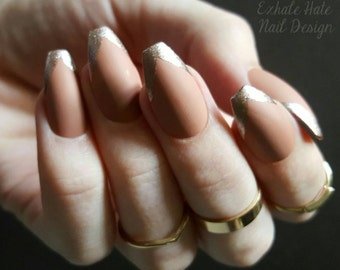 Clay Nude Matte with Rose Gold Deep V French Fake Glue on Nails - Stiletto, Coffin, Square, Oval
