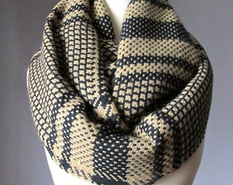 Houndstooth scarf, WIDE, black and beige scarf, infinity houndstooth scarf, black and beige  houndstooth scarf