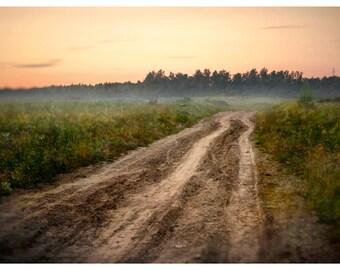 Russian landscape photography, rural road art print, Cottage wall art, summer rustic nature large art photo 24x36, 12x16, 18x24, 20x30