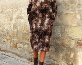 Faux Fur Midi Dress / Brown dress / Party dress / Womens Maxi Dress with Pockets / Winter Clothing / Below the Knee Dress/ Extravagant Dress