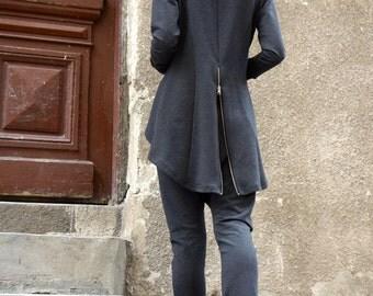 NEW Collection Dark Grey Zipper Blazer / Cotton Blend Coat Extravagant Asymmetrical Zipper Blazer /Extra Long Sleeves by Aakasha A08371