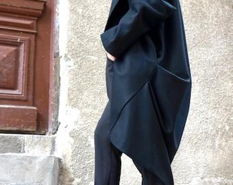 NEW  Fall Winter Asymmetric Extravagant Black Unique Coat/ Wool/Cashmere Blend/ Large Pocket Coat by AAKASHA A07443