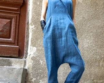 NEW Collection SS  2016 Sexy Denim Drop Crotch Jumpsuit / Extravagant Summer Loose Jumpsuit / Casual Daywear with pockets  by AAKASHA A19430