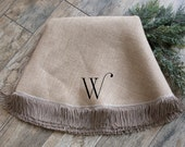 "Christmas tree skirt,approx. 60"" Natural burlap tree skirt with boullion fringe, Optional Initial"