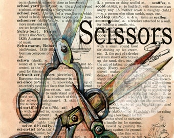 PRINT:  Scissors Mixed Media Drawing on Antique Dictionary