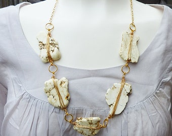 Long Strand Wire Wrapped White Turquoise Slab Adjustable Gold Necklace
