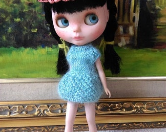 SALE Light green knitting bubble dress for blythe and similar size dolls